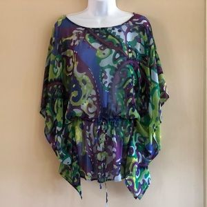 LIKE NEW IZOD Sheer Muti-Color Blouse/Coverup M